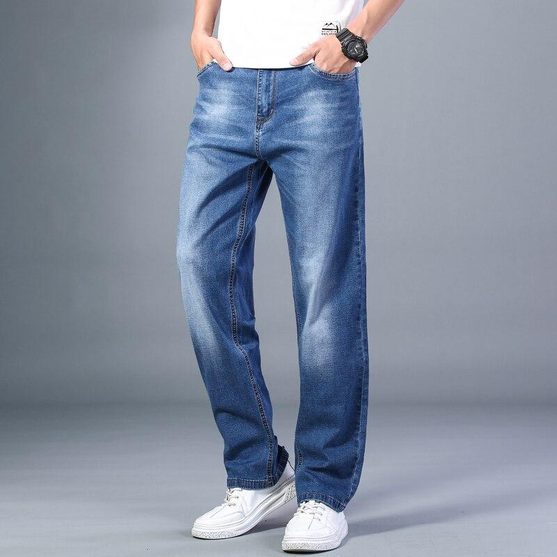 Мужские тонкие прямые свободные джинсы, Новинка лета 2021, Классические Стильные Расширенные эластичные свободные брюки, мужские джинсы