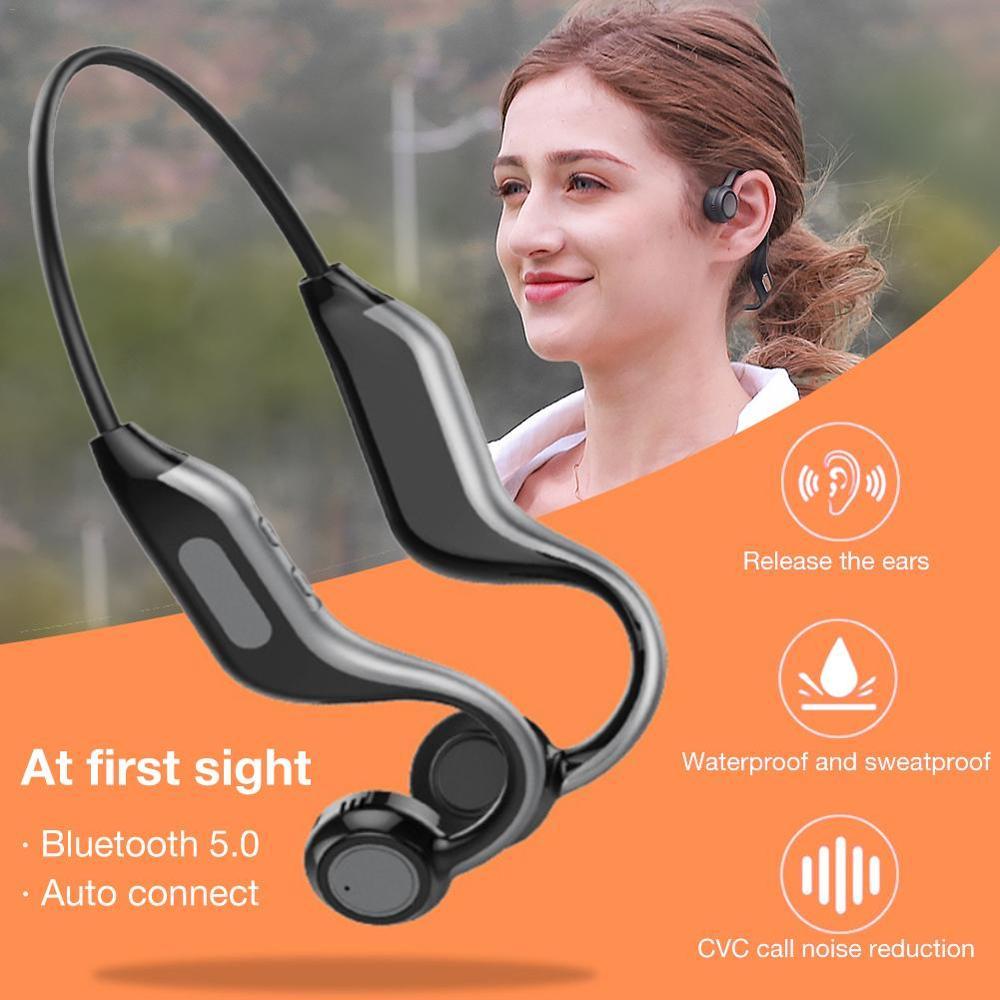 O mais recente estilo de condução óssea fone de ouvido bluetooth, 8g de memória, reprodução de música, controle de voz, função nfc, esportes à prova dwaterproof água