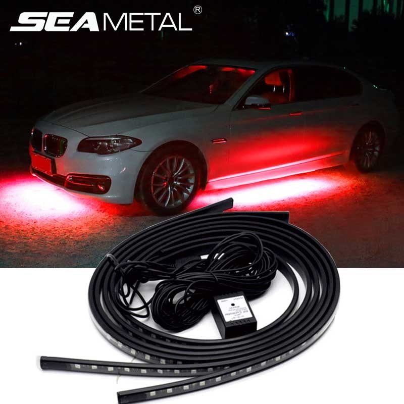 12V LED coche bajo luces aplicación remota Control RGB LED tira coche bajo brillo Sistema de la lámpara Auto decoración atmósfera luces