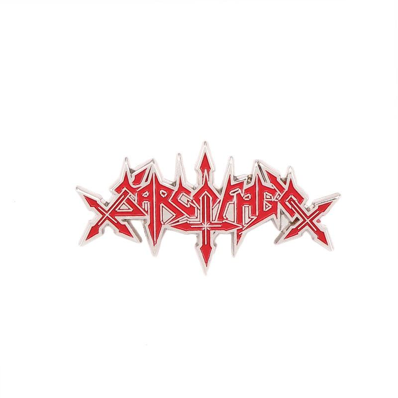One of the Pioneers of Black Metal Sarcofago Letter Badges Pins Metal Band Sarcofago Souvenir Brooches Enamel Brooch Pin Jewelry