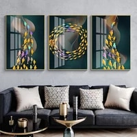 abstract colored fish school wall art canvas paintings wall art posters decorative wall art prints living room home decoration