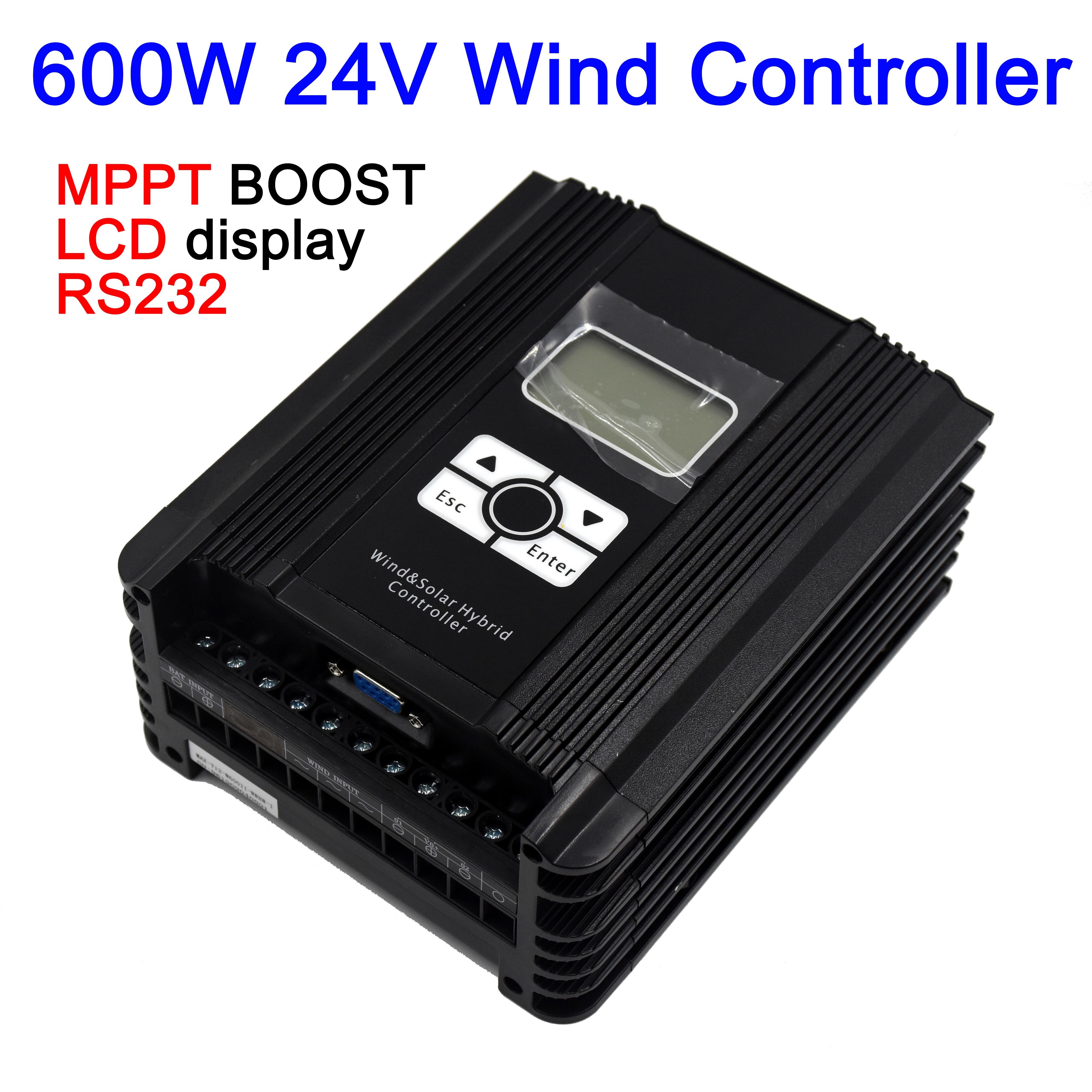 600W 24V wind solar hybrid MPPT (modelo de impulso) controlador de cargador con pantalla LCD, comunicación RS232, puerto de salida dual 12A