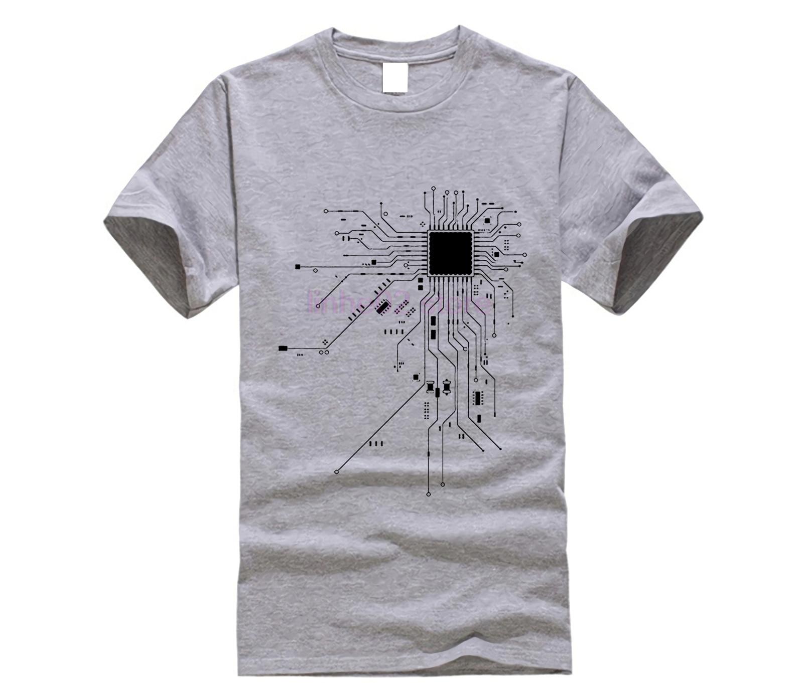 Ordenador Cpu núcleo corazón camiseta de los hombres Geek Nerd Freak Hacker Pc camiseta para jugador de verano de manga corta de algodón camiseta Euro tamaño T309