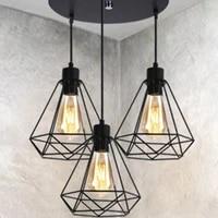 energy saving nordic restaurant chandelier creative three head art retro wrought iron diamond dining room lamps without bulb