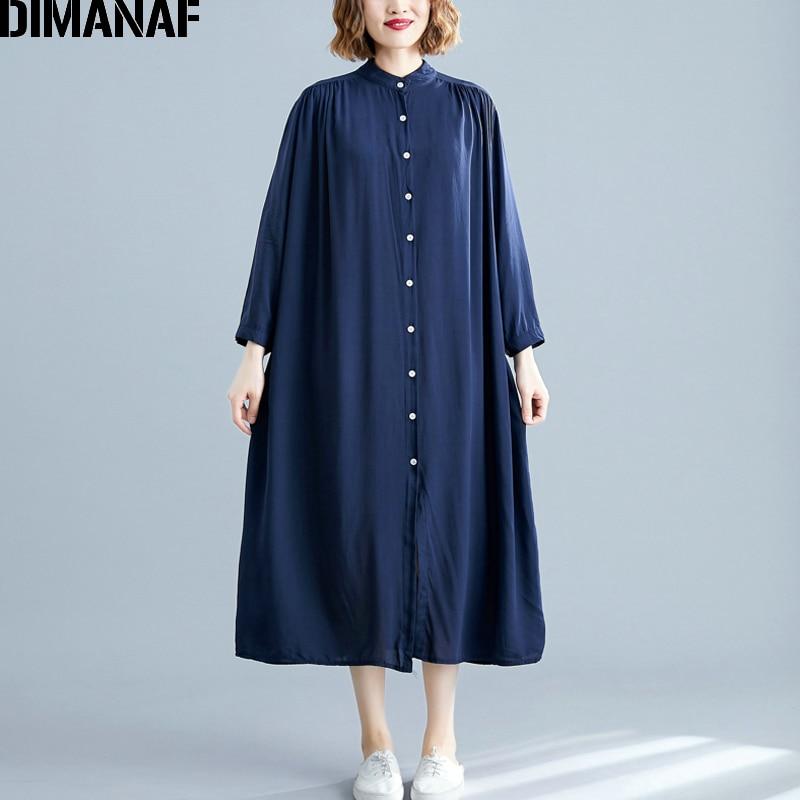 DIMANAF Plus Size Women Dress Autumn Long Sleeve Cotton Basic Casual Big Size Female Lady Vestidos Loose Cotton Solid Dress Thin
