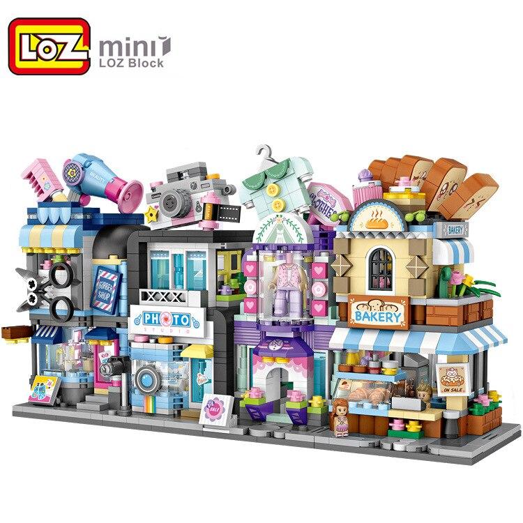 Bloques Mini LOZ street Flower Shop, bloques de construcción para niños, juguete pequeño, tienda de bodas, modelo para niños, regalos educativos 1645-1648
