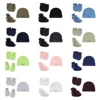 baby infants anti scratching cotton gloveshatfoot cover set newborn mittens socks warm cap kit