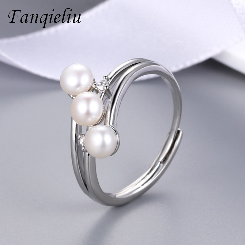 Fanqieliu Open 3PCS Pearls Wedding Bands Adjustable Real Crystal 925 Sterling Silver Ring For Woman FQL21166