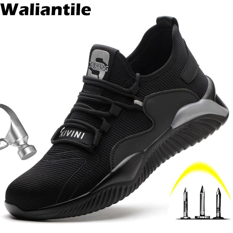 Waliantile تنفس حذاء امن للعمل الرجال غطاء صلب لأصبع القدم مكافحة تحطيم أحذية عمل أحذية رياضية بناءة غير قابلة للتدمير