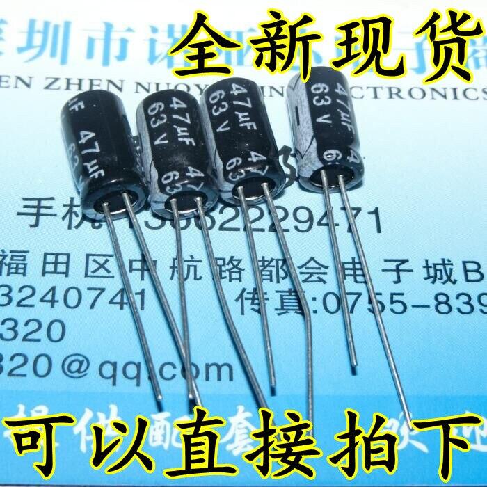 50 unids/lote 63V47UF, condensador electrolítico de alta calidad 63V 47UF 6*11MM