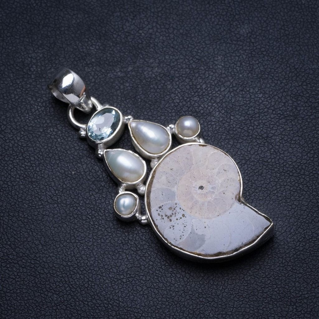 "Natural Rose Quartz and Amethyst Handmade Unique 925 Sterling Silver Pendant 1.5"" X1038"