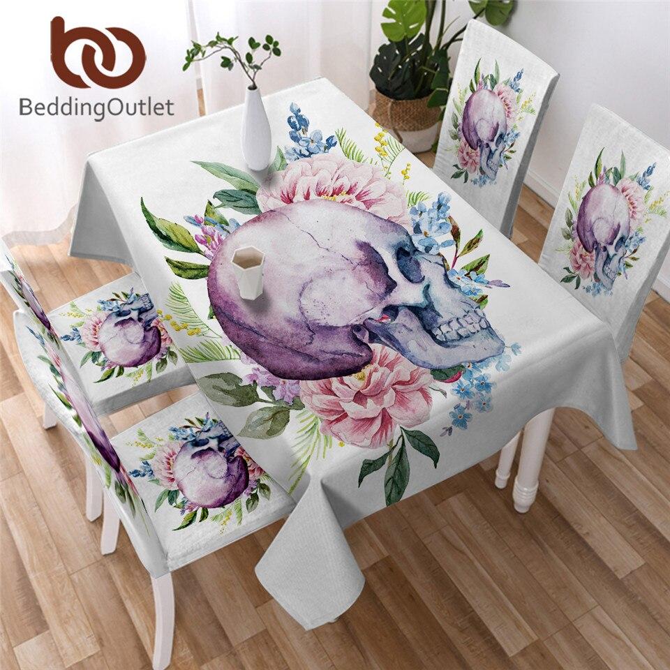 BeddingOutlet hoja Floral blanco mantel calavera mantel gótico moderno Lino de mesa acuarela toalha de mesa