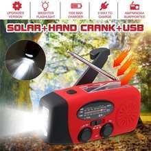 Radio à main multifonctionnelle Dynamos à manivelle solaire alimenté par Radio météo AM/FM/WB/NOAA utilisation lampe de poche LED durgence et batterie externe