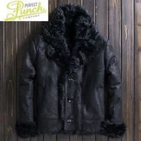 sheepskin genuine leather jackets for men winter jacket real sheep shearling coat male thick clothes veste lxr1086