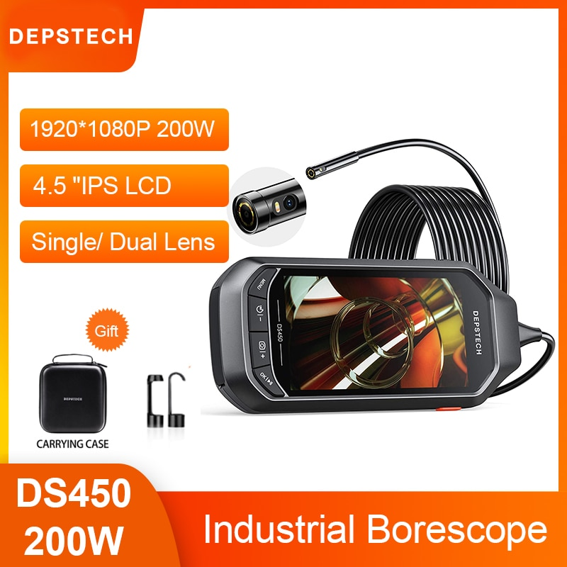 Promo Depstech 1080P Single/ Dual Lens Endoscope Camera with 4.5″ IPS LCD Inspection Camera with 32GB TF for Car Sewer Inspection