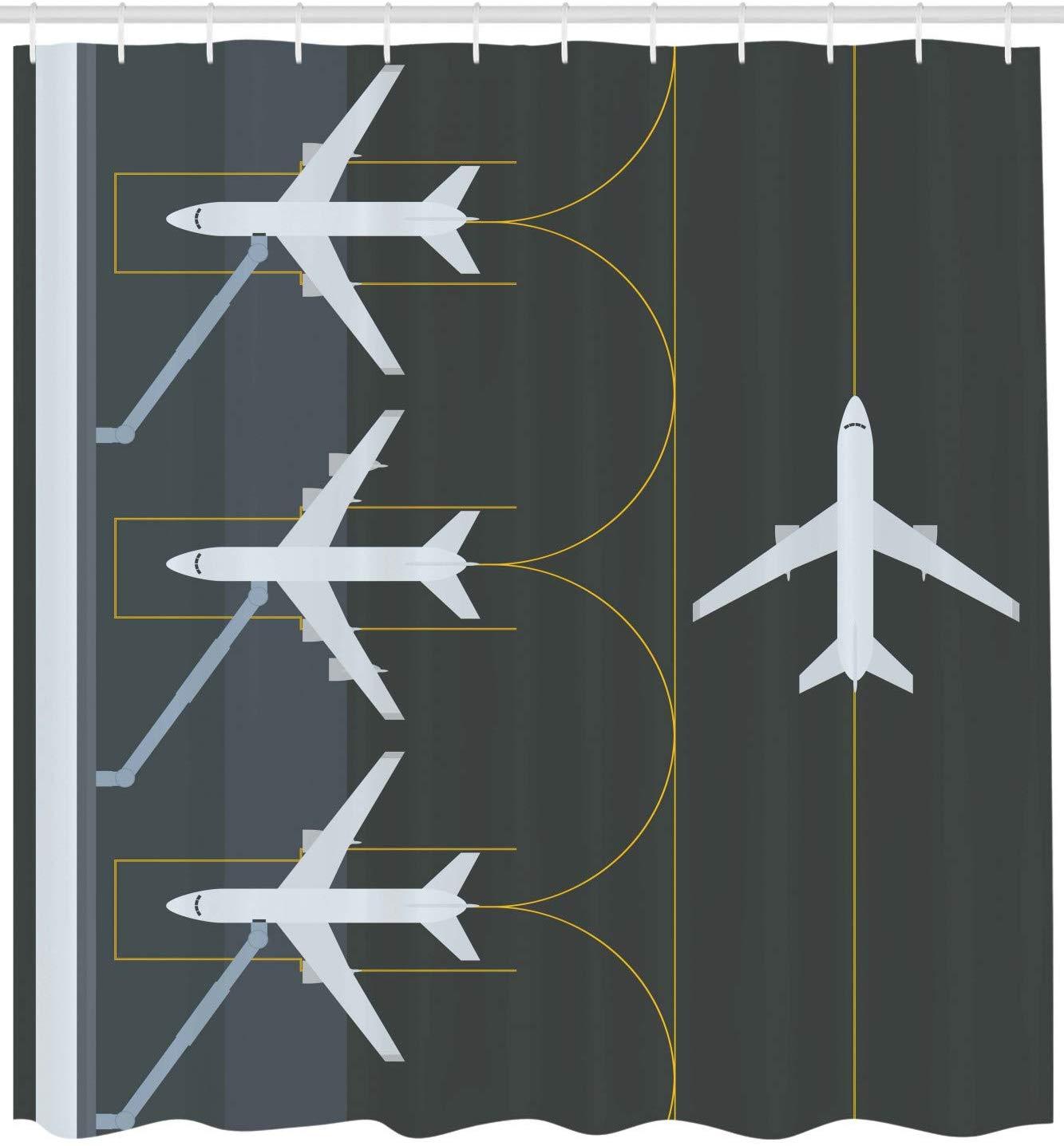 Cortina de ducha de aeropuerto ilustración sencilla temática de aviación de aviones aparcados en el campo de aire Tela de decoración de baño