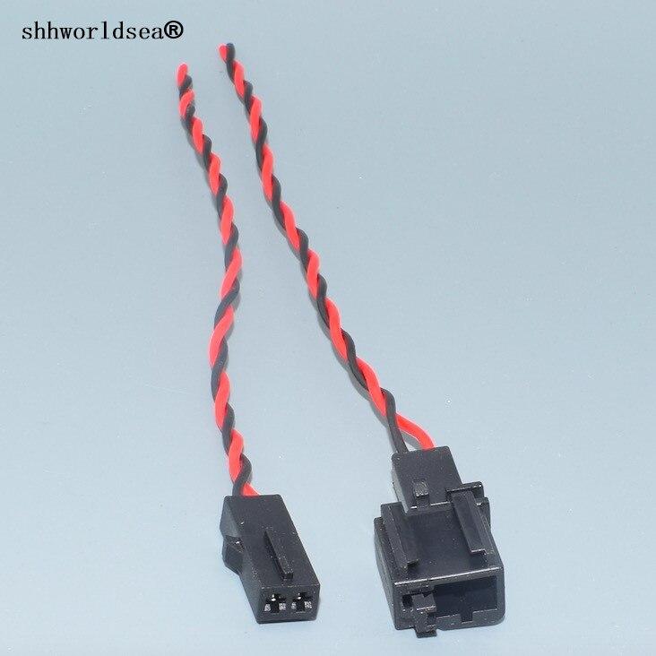 Shhworldsea 2Pin de forma automática High-Pitched Conector de altavoz ambiente luz de freno Luz de enchufe del micrófono para VW Audi 1J0 973 332 1J0 973, 119