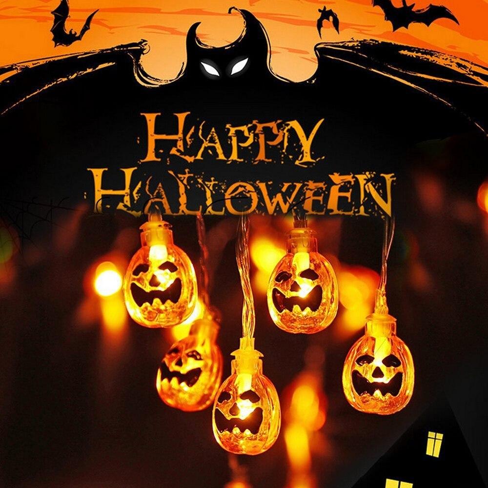 1,5/2,5/5M Halloween calabaza luces LED vacaciones cuerda al aire libre accionado por batería guirnalda Halloween decoración fiesta lámpara hogar