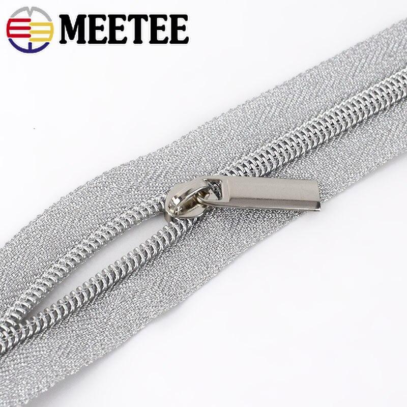 Купить с кэшбэком Meetee 4Meters Gold Silver 3# 5# Open-End Nylon Zipper For Sewing DIY Zip Sports Coat Clothes Zippers Garment Accessories KY273