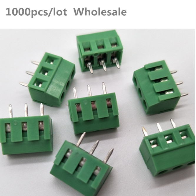 1000PCS Wholesale EX381V spacing 3.81/3.5mm Screw 2Pin 3Pin PCB Screw Terminal Block Connector Copper square Terminals