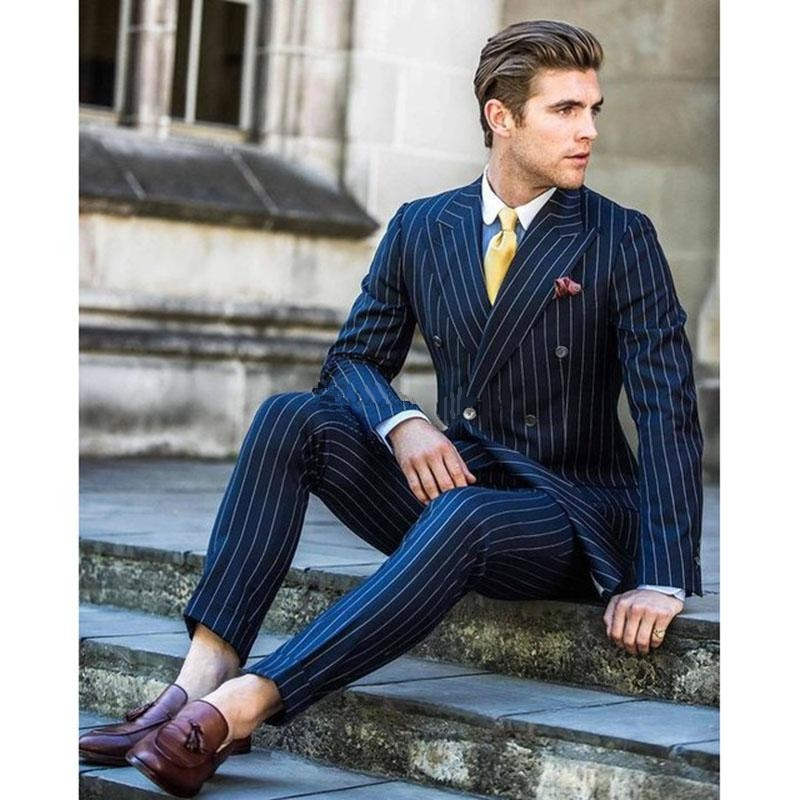 Handsome Double-Breasted Groomsmen Peak Lapel Groom Tuxedos  Men Suits Wedding/Prom/Dinner Best Blazer(Jacket+Pants+Tie) 115