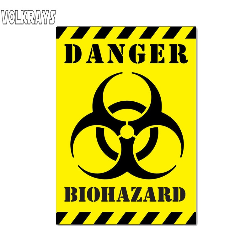 Volkrays Funny Car Sticker Danger Biohazard Zombie Accessories Cover Scratches PVC Decal for Octavia Gt Skoda Fabia,17cm*12cm
