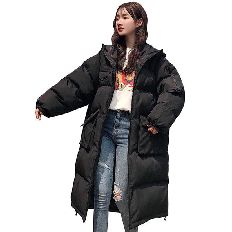 Chaqueta de Invierno para mujer holgada con cuello de piel con capucha abrigo de algodón Parka femenina abrigo de invierno grueso para estudiantes acolchado Q2100