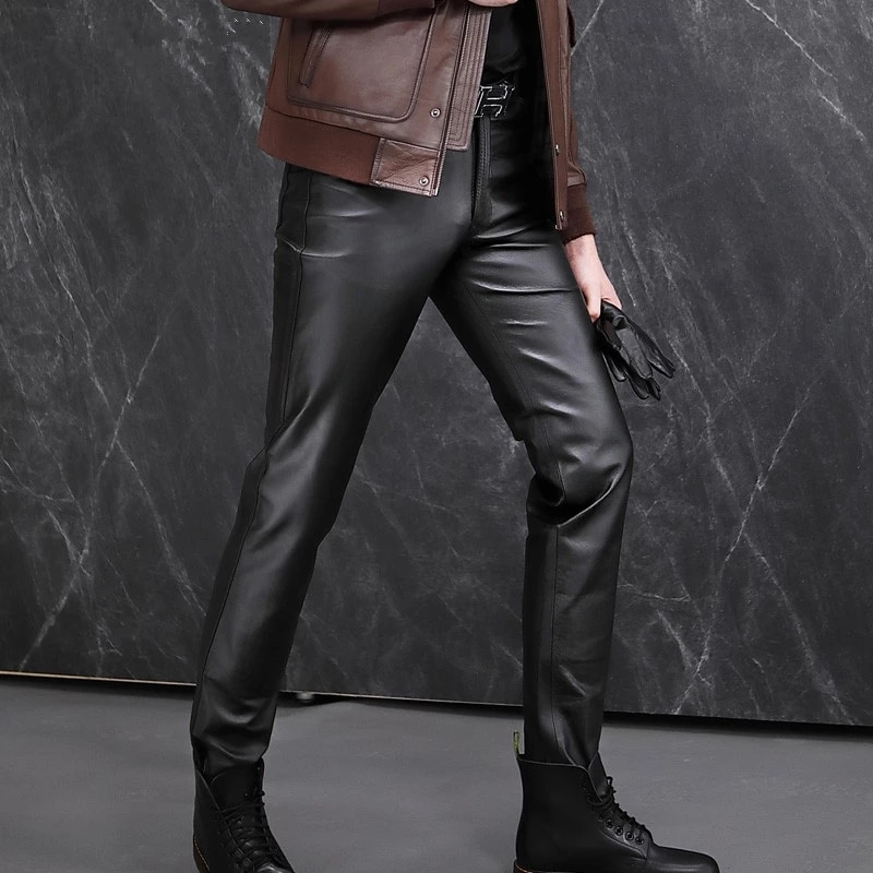Genuine Leather Pants Men's Brand Black Motorcycle Pants The first layer of Sheepskin Pants Male Personality Leather Pants