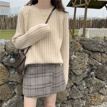 Autumn Women Loose Knitted Top Korean Fashion Bottoming Shirt Round Neck Solid Sweet Pullover Ladies