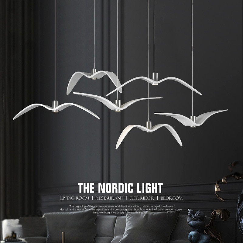 Luces de pájaro luz colgante moderna nórdica creativa Gaviota restaurante dormitorio estudio Bar lámpara colgante decorativo lámparas Led