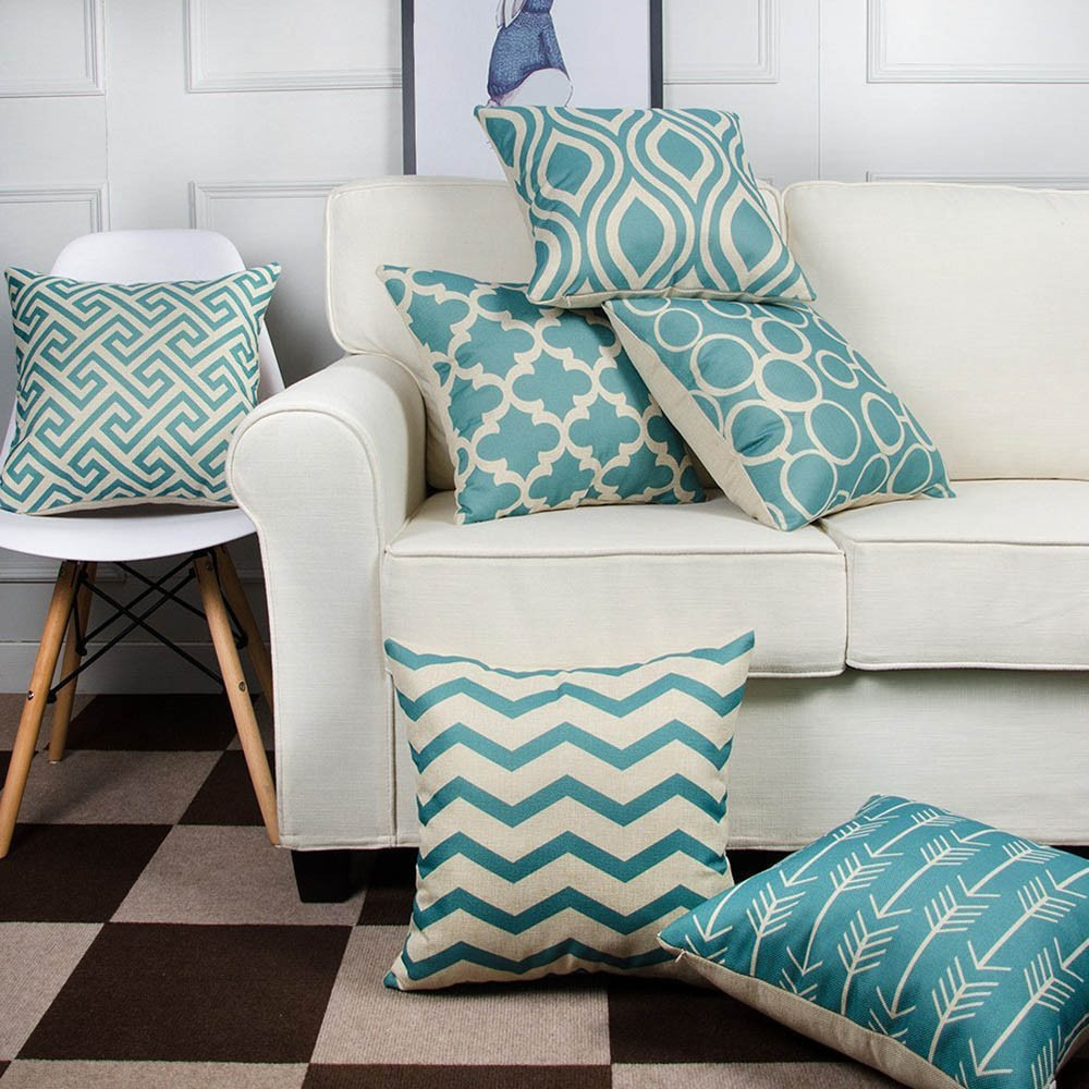 Green Geometric Pillow Cover Home Decorative Pillows Stripe Circles Quatrefoil Linen Pillow Case Cushion Cover Cojines Almofada
