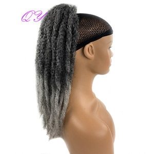 QY Hair Long Afro Kinky Curly Ponytail Wig Omber Grey Color Synthetic Hair For Black Women