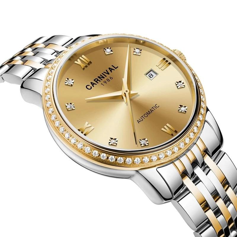 CARNIVAL Brand Women Fashion Automatic Watch Lady Waterproof Sapphire Calendar Business Mechanical Wristwatch Relogio Feminino enlarge