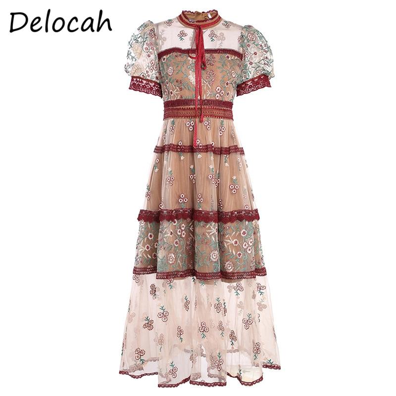 Vestido de verano para mujer de delucah, vestido acampanado de diseño a la moda con mangas acampanadas y lazo bordado, vestidos Midi de malla para mujer