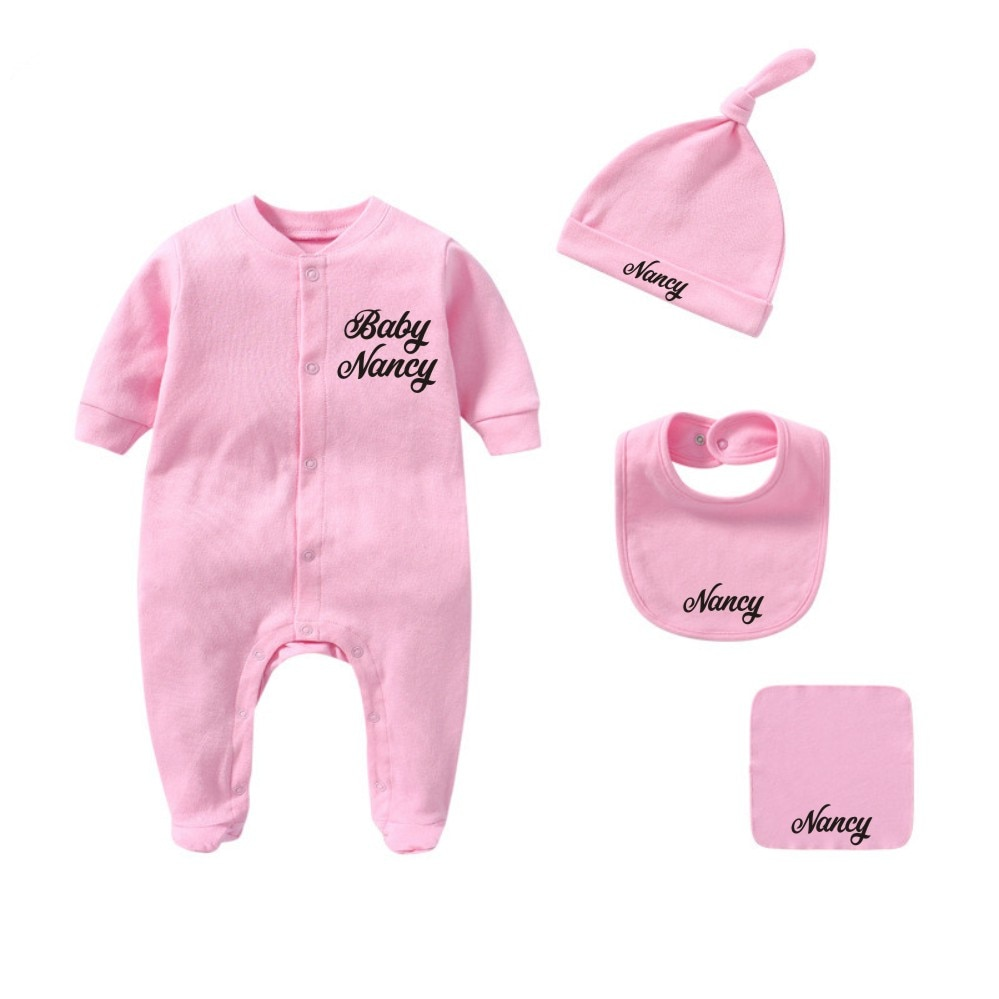 Custom Baby Name Newborn Girl/Boy Coming Home Outfit Baby Shower Gift Clothes Romper+Hat+Bibs+Towel
