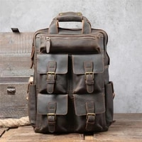 mens genuine leather large capacity first layer cowhide retro backpack multifunctional leather crazy horse leather travel bag