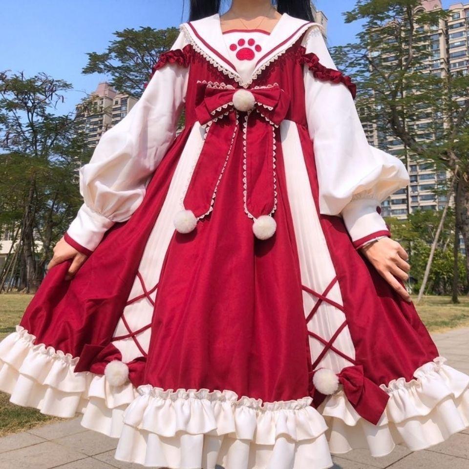 MAGOGO الكلاسيكية لوليتا OP فستان البحرية طوق طويلة الأكمام اليابانية لينة شقيقة فتاة فستان القوس الكبير