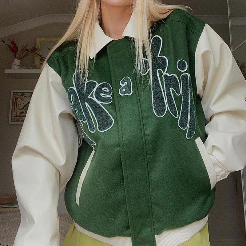 Bomber سترة المرأة الأخضر التباين كم بولي معطف معطف جلد ملابس خارجية تأخذ رسالة رحلة زين الإناث الخريف سترات للعبة البيسبول
