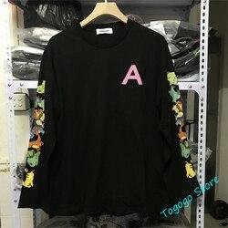 Hip-hop animais dos desenhos animados impressão emboscada manga longa camiseta masculino feminino 11 alta qualidade 3d espuma logotipo emboscada t camisa topo