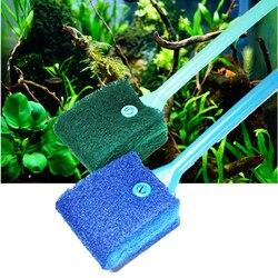 Escova de limpeza para aquário em 2 cabeças, limpador de vidro esponja para limpeza de aquário, acessórios para tanque de peixes