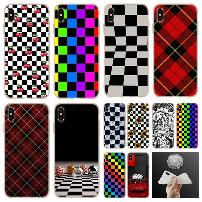Funda suave de silicona para teléfono iPhone 11 Pro 7 8 6 6s Plus XR XS Max funda bolsa 5 5S SE 2020 Etui fundas a cuadros