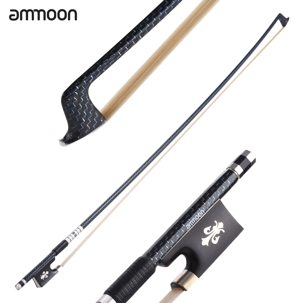ammoon Well Balanced 4/4 Violin Fiddle Bow Braided Carbon Fiber Round Stick Exquisite Horsehair Ebony