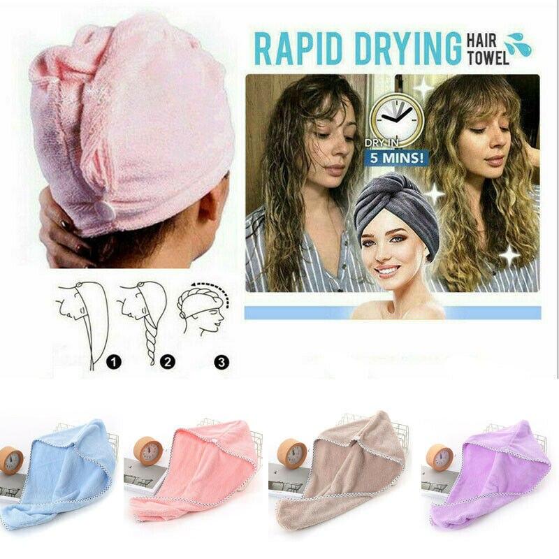 Turbante seco rápido de microfibra do chapéu de toalha do salão de beleza da secagem rápida do cabelo mágico do tampão super absorvente para o envoltório rápido da piscina do chuveiro do banho