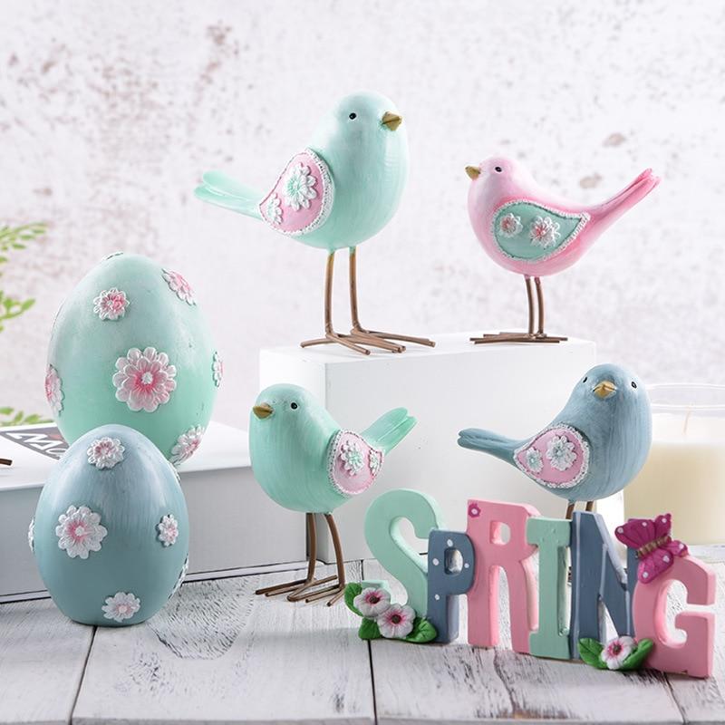 Decoración nórdica para habitación, ornamento de pájaros de resina, figura de decoración colorida para pájaros para casa, decoración para sala de estar, decoración nórdica para el hogar