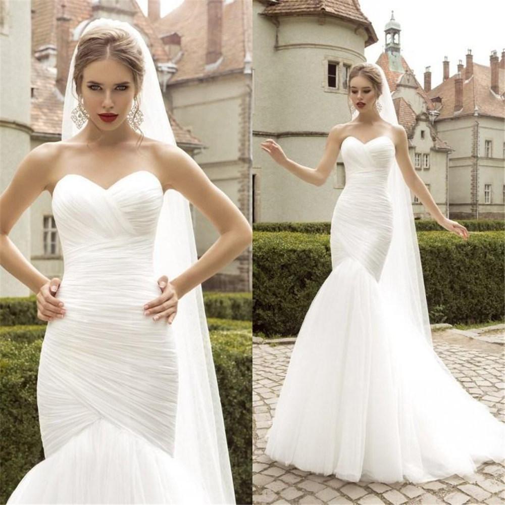 أحدث Ruched حورية البحر فستان الزفاف الدانتيل يصل أبيض/العاج الحبيب سليم زي العرائس