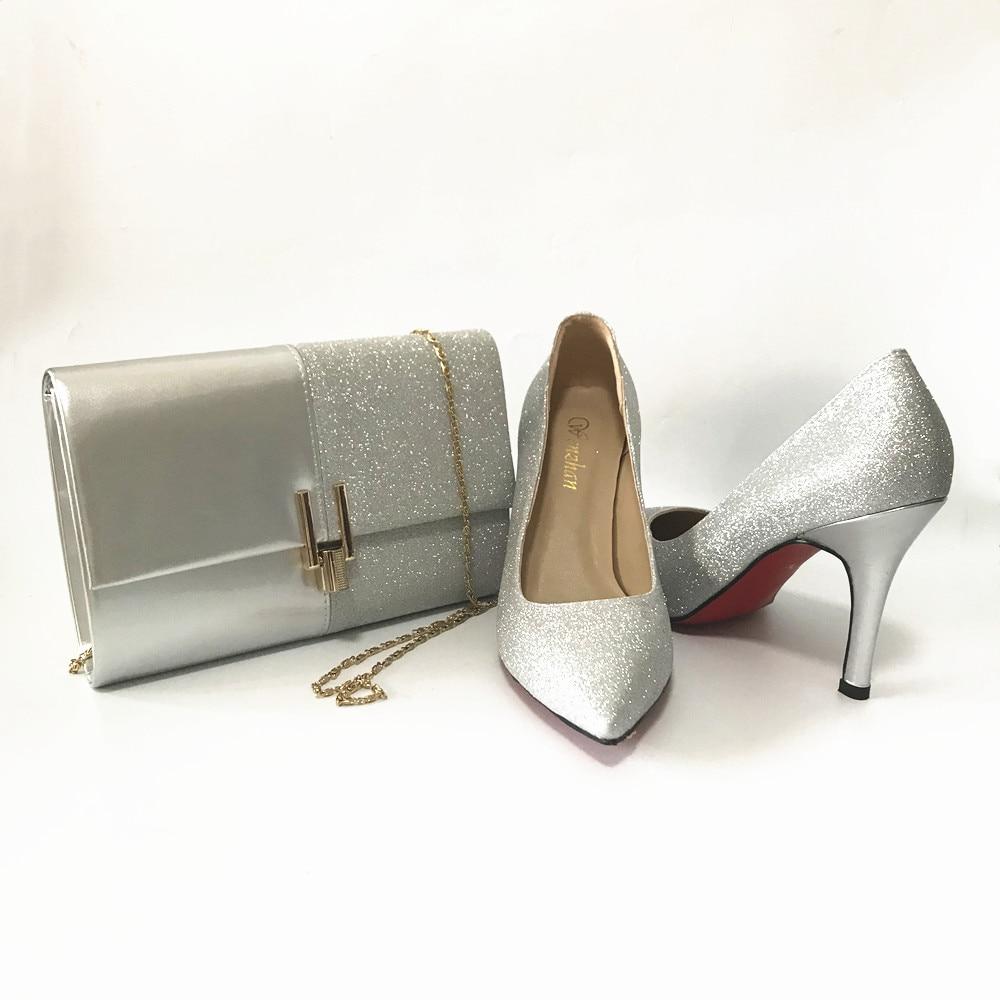 الشظية المرأة أشار تو مجموعة ترتر براقة مضخات عالية الكعب مع مطابقة حقائب الحفلات الانزلاق على أحذية بكعب فستان أحذية الحفلات A14-25