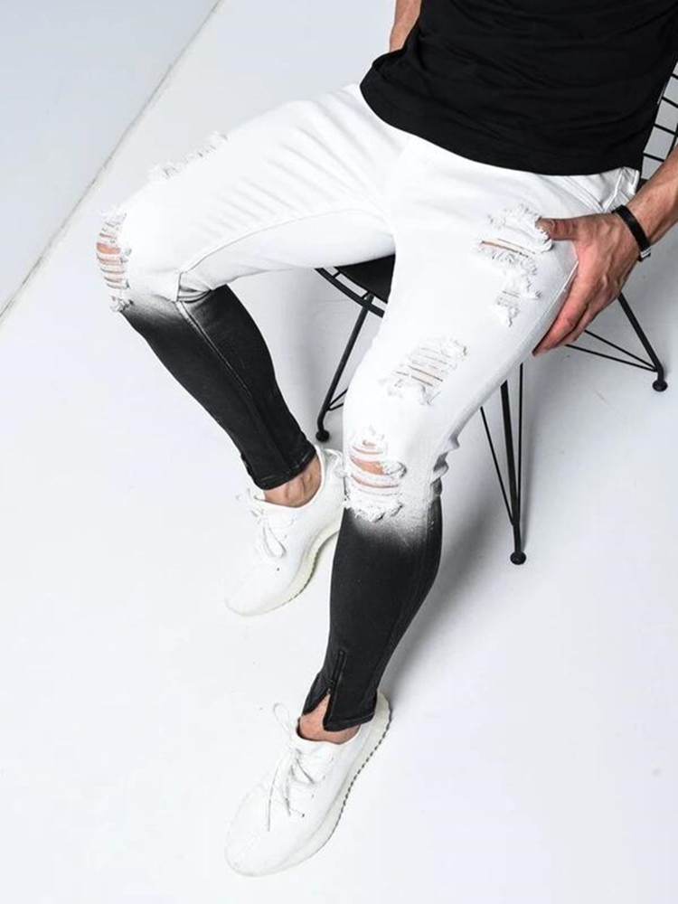 Men's Spring Stretchy Skinny Jeans With Large Size Holes Gradually Change Color To Go With The Trend