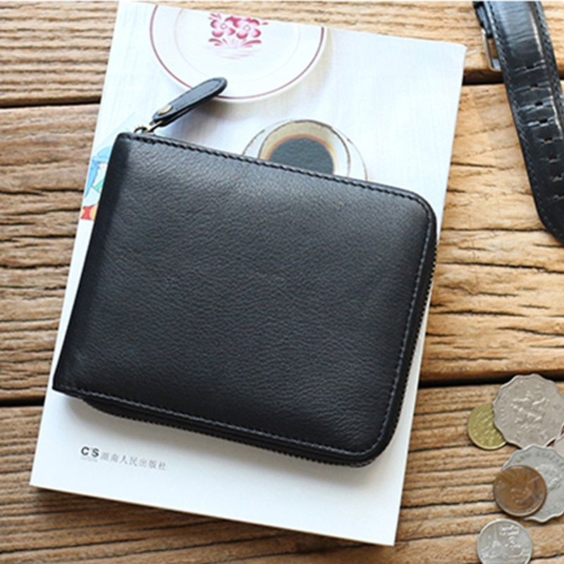 Calfskin zipper short wallet men's leather horizontal simple casual coin purse female student card bag tide  - buy with discount