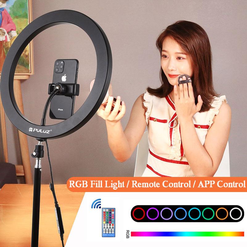 12 inch RGB Ring Licht Dimbare LED Ring Licht Invullen Lamp 30cm Kleur APP Controle Met Telefoon Clip Voor youtube Selfie Video Live