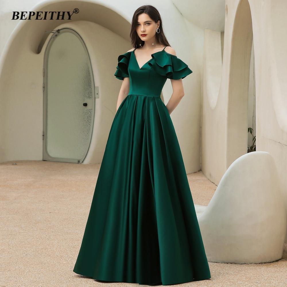 BEPEITHY a-line أخضر داكن فساتين سهرة طويلة فستان حفلة رقبة V أكمام قابلة للانفصال فستان حفلات عتيق للنساء مقاس كبير 2021